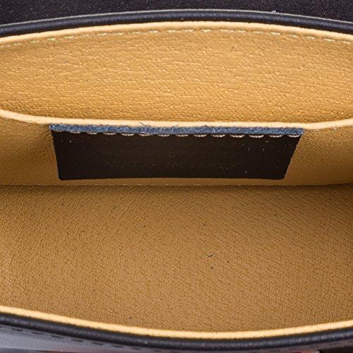 18x15x7 Adornos MADE mano cm cierre VERA auténtica RUGA ITALIANA de NEGRO FIRENZE piel ITALY vintage exclusivo Bolso Negro de solapa Bolso mujer con cuero IN Color ARTEGIANI genuino lujo PELLE q8FO4wH