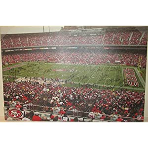 2013 San Francisco 49ers Team Autographed Hand Signed Candlestick Park Football Stadium Canvas Print with Proof Photos of Signing and COA Jim Harbaugh, Frank Gore, Joe Staley, Ted Ginn Jr and More