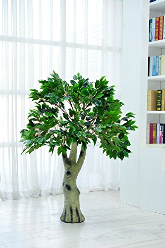 Youz Artificial Ficus Tree with Large Silk Green Leaves Indoor Ourdoor Plant, 4.50-Feet Green, With No Pot(847#) by Youz