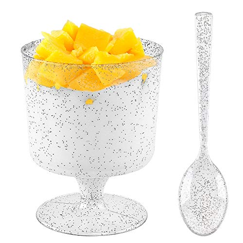 WDF 96PACK 7oz Silver Glitter Medium Large Plastic Dessert Cups With Spoons-48 Disposable Appetizer Cups |Wine Goblet Glasses & 48 Silver Glitter Tasting Spoons