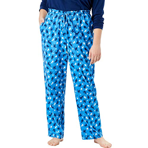 Dreams & Co. Women's Plus Size Knit Sleep Pant - Cornflower Cat, 2X