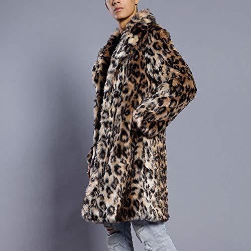 Piel Leopardo Hombres De Manga Abrigos Negro Estampado Cuello Sintética Rompevientos Invierno Abrigo Beladla Classic Moda Larga ET8wCqC