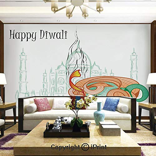 Mahal Slate - Lionpapa_mural Artistic Background Removable Wall Mural Self-Adhesive,Abstract Palace Taj Mahal Like Sketch with Modern Festive Fire Candles Print,Home Decor - 100x144 inches
