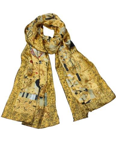- Dahlia Women's 100% Long Silk Scarf - Gustav Klimt