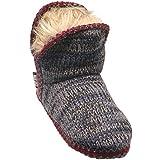 MUK LUKS Women's Amira Serape Slipper Boots-Fleece Lined Denim Blue Knit, M