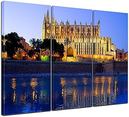 Bilderdepot24 Cuadros en Lienzo Catedral de Palma de Mallorca - España 150x90 cm 3 Piezas - Enmarcado Listo Bastidor Imagen. Directamente Desde el Fabricante: Amazon.es: Hogar