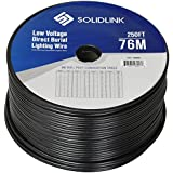 SolidLink 250ft Low Voltage 12/2 Direct Burial Bare COPPER Lighting Wire Parallel Flat-Twin Cable For Landscape Lights
