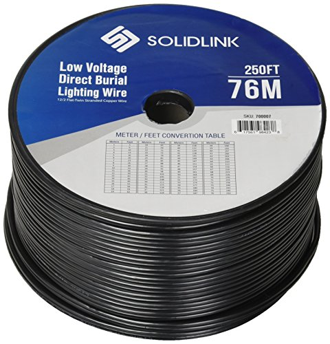 SolidLink 250ft Low Voltage 12/2 Direct Burial Bare Copper Lighting Wire Parallel Flat-Twin Cable for Landscape Lights, Black - Wire 12 Low Voltage Gauge