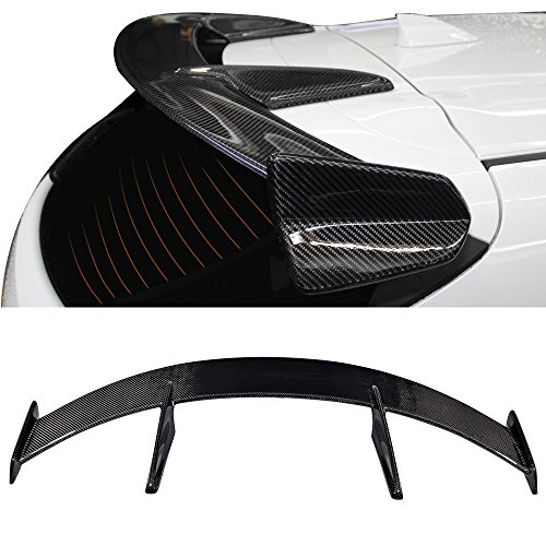 Roof Spoiler Fits 2014-2017 Mazda 3 5Dr Hatchback | KS Style Unpainted Carbon Fiber CF Rear Window Spoiler Wing By IKON MOTORSPORTS | 2015 2016