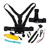 10 in 1 Gopro Accessories, THZY Camera Accessories Kit for Gopro Hd Hero 4 Session / Hero + LCD / 3+ / 3 / 2, Head Strap & Chest Mount Harness & Handheld Monopod