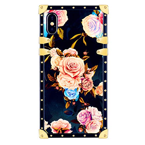 Funermei Flower Luxury Case for iPhone Xs Max,3D Soft Colorful Rose Floral Rivet Pattern Design Cute Slim Cover,Unique Women Girls Lady Phone Skin, Color TPU Cases for iPhone XsMax 6.5
