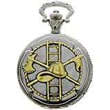 Fire Fighter Design Case for Quartz Pocket Watch with Chain