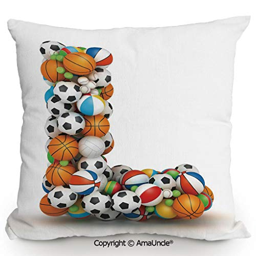 AmaUncle Decorative Square Throw Pillow Case with Cotton and Linen,Basketball Football Volleyball Tennis Athleticism Teamplay Motivation Theme Print Decorative,W16xL16 Inches,Modern Design with 3D Pri ()