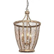 Farmhouse Chicken Wire Basket Chandelier Zadie Caged Foyer Entry Lamp Industrial Antique