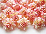 (100) Silk Cream Pink Edge Roses Flower Head - 1.75