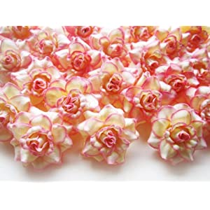 "(100) Silk Cream Pink Edge Roses Flower Head - 1.75"" - Artificial Flowers Heads Fabric Floral Supplies Wholesale Lot for Wedding Flowers Accessories Make Bridal Hair Clips Headbands Dress 20"