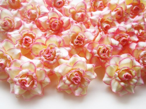 (100) Silk Cream Pink Edge Roses Flower Head - 1.75