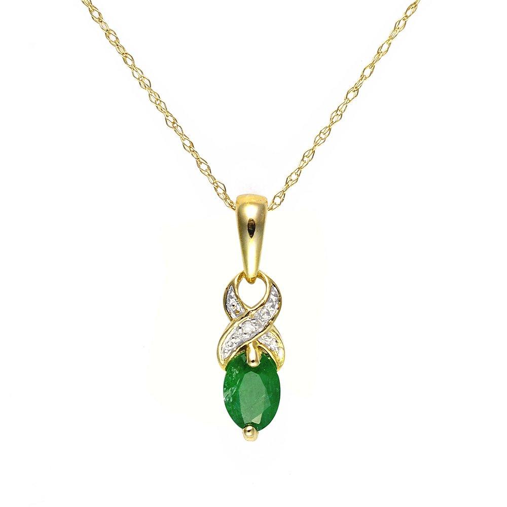 Ivy Gems Pendentif torsad/é en or jaune 9 carats avec /émeraude et diamant 46 cm