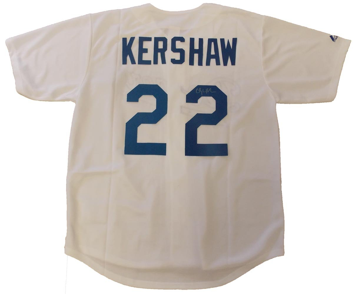 separation shoes fe960 f6ac8 Clayton Kershaw Autographed Los Angeles Dodgers White Jersey ...