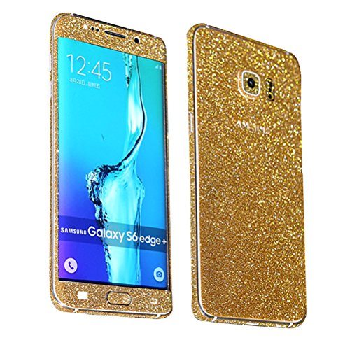 Just Mode(TM)Glittering Style Full Body Bling Glitter Film Sticker Case Cover Protector for Samsung Galaxy S6 Edge Plus-Gold