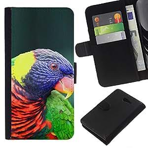 EJOY---La carpeta del tirón la caja de cuero de alta calidad de la PU Caso protector / Sony Xperia M2 / --Loro colorido pájaro púrpura ornitología