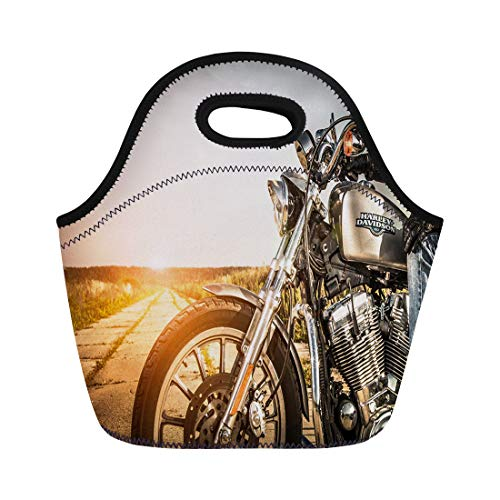 Semtomn Lunch Bags Russia July 7 Biker on Bike Harley Sportster Sustains Neoprene Lunch Bag Lunchbox Tote Bag Portable Picnic Bag Cooler Bag