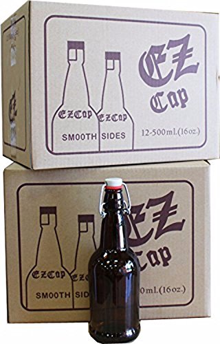 MSS 40965-2PK 16 oz. EZ Cap Amber Glass Beer Bottles (Pack of 2) (Pedestal Glasses Beer)