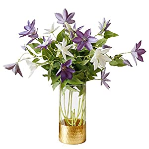 Li Hua Cat FrenchHigh-endViolet/WhiteClematisartificialflower/flowerarrangementfortable,desk,room,shop,photography,wedding,DIY,etc (White) 5