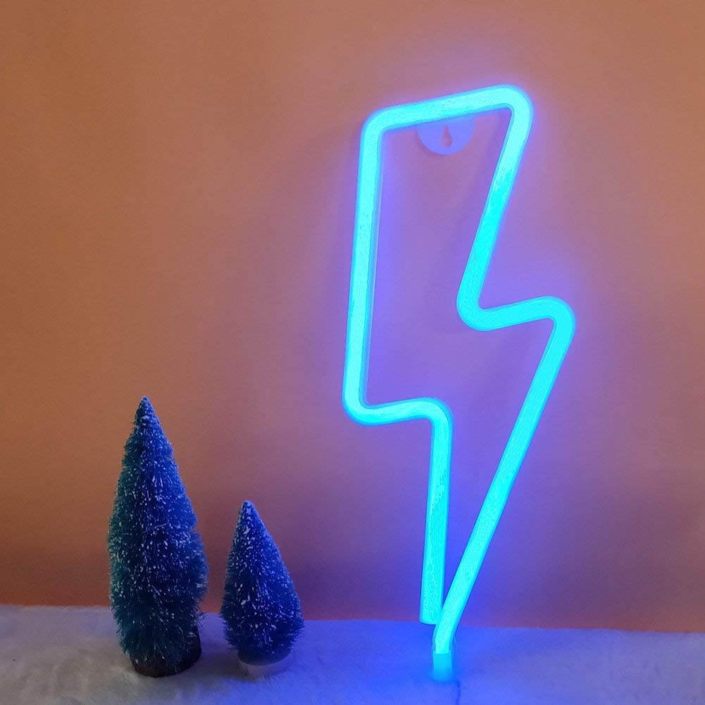 LED Lightning Shape Neon Sign Light Art Decorative Lights Wall Decor for Baby Room Christmas Wedding Party Supplies (Blue Light)