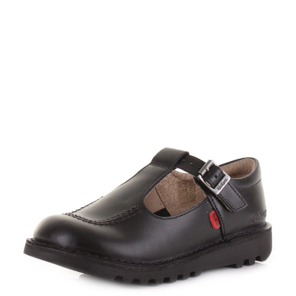 Kickers Kick T Junior T BAR Black Black Leather Girls School Shoes Size 2.5