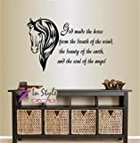 Wall Vinyl Decal Home Decor Art Sticker God Made the Horse From the… Phrase Quote Horse Head Animal Room Removable Stylish Mural Unique Design For Any Room 128