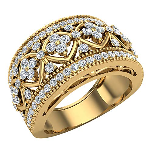 Diamond Gold Cocktail Ring - 0.95 ct tw Cocktail Diamond Ring Filigree Style 18K Yellow Gold (Ring Size 9)