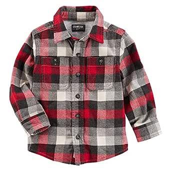 OshKosh B'gosh Button Front Plaid Flannel Shirt for Boys - Multi Color