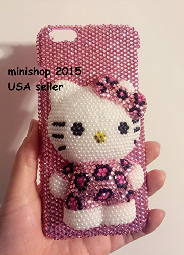 Fits iPhone Xs MAX Stand Pearl 3D Hello Kitty Crystals Diamond case Cover Bling Bling USA sellerFree Screen Protector (Pink Leopard)