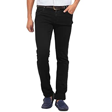 71bbce66 Stylox Men's Regular Slim Fit Black Jeans: Amazon.in: Clothing ...