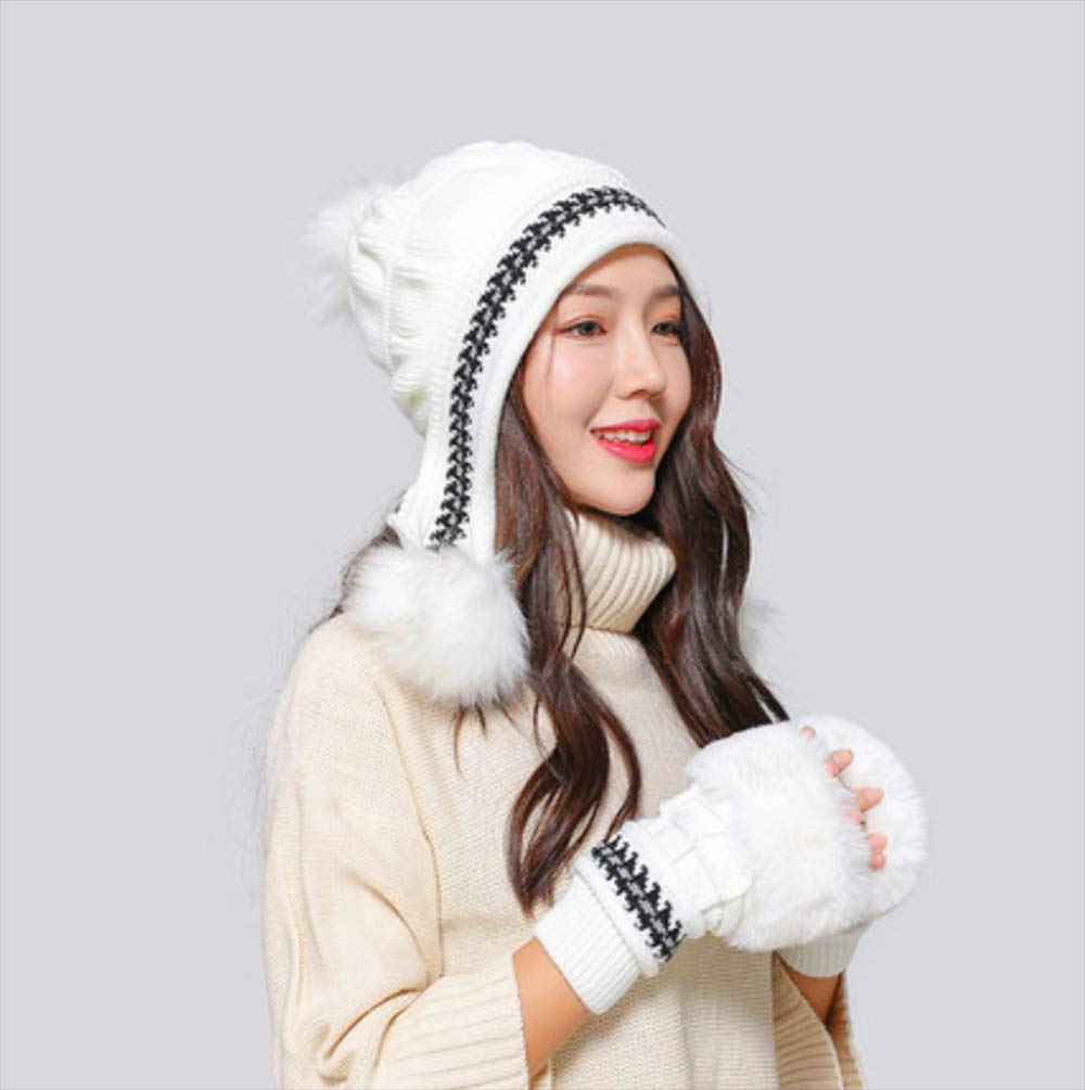 Knitted Winter Beanie Hat Winter Hat Female Thickerplush Warm Slouchy Ski Caps Knitted Wool Hat Earmuffs Hat,A