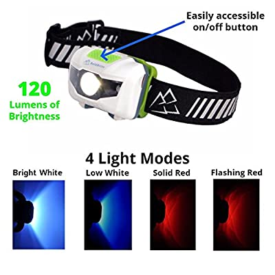 Running Headlamp LED Flashlight with Reflective Band - Bright, Light, Comfortable, Waterproof, 4 Light modes with Red; For Runners, Hiking, Camping, Hunting, Fishing, Dog Walking, Work, DIY