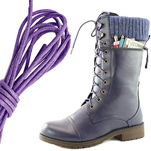 Dailyshoes Womens Style De Combat Lacets Bottine Bout Rond Militaire Knit Carte De Crédit Couteau Argent Portefeuilles De Poche, Violet Violet Pu