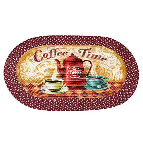 Old Fashioned Coffee Time Braided Accent Rug - Vintage Kitchen Decor for Coffee Lovers