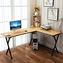 Soges L-Shaped Desk Computer Desk with Mainframe Multifunctional Computer Table Workstation, ZJ1-WCA