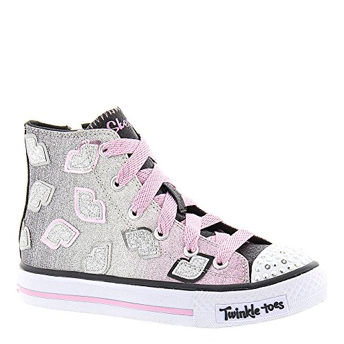 Skechers Girls' Twinkle Toes Shuffles Lil Smooches High Top,Black/Pink,US 11 M