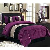 "4 Piece QUEEN Size DARK PURPLE / BLACK / WHITE Pin Tuck Stripe Regatta Goose Down Alternative Comforter set 90"" X 90"" Bedding"