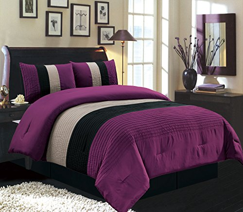 Grand Linen 4 Piece Queen Size Dark Purple/Black/White Pin Tuck Stripe Regatta Goose Down Alternative Comforter Set 90″ X 90″ Bedding