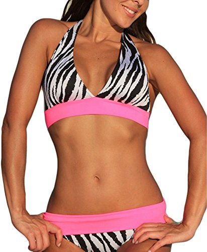 Century Star Summer Sexy Chic Retro V Neck Halter Padded Triangle Bikini Swimsuit Bathing Suits For Women Teens Zebra L (US - Zebra Retro 10