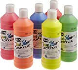 Sax True Flow Acrylic Paint - 1 Pint - Set of 6 - Assorted Fluorescent Colors