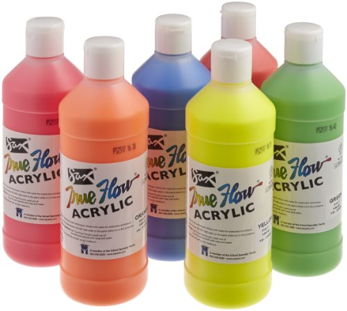 Sax True Flow Acrylic Paint - 1 Pint - Set of 6 - Assorted F