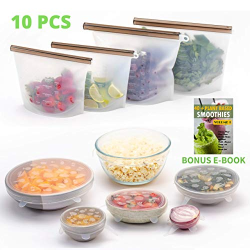 FutureUses® – Reusable Food Storage – 4 Silicone Food Bags + 6 Silicone Stretch Lids – Zero Waste – Ziplock Bags – Eco…