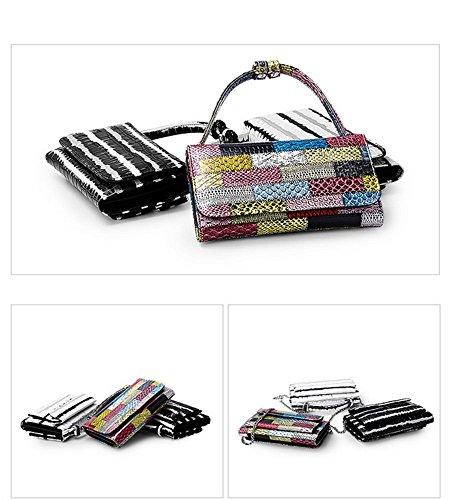 Messenger Women's shoulder bag bag Handbags leather Purse Black Real qrr7wCxdE