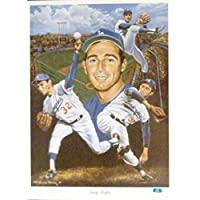 $124 » Sandy Koufax lithograph (Los Angeles Dodgers Hall of Famer Jewish Sports Legend) size 23x29 hand signed by the artist