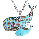 Luckeyui Blue Whale Necklace Gift for Women Unique Enamel Sea Animal Large Pendants Jewelry
